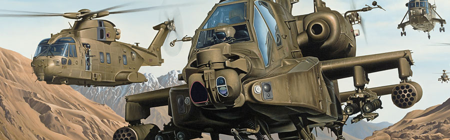apache helicopter detail from Joint Force painting by Neil Hipkiss Aviation Artist