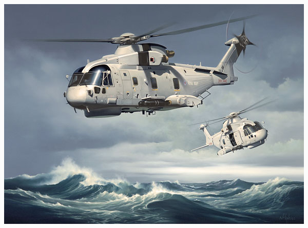Merlin Helicopter Oil Painting by Neil Hipkiss